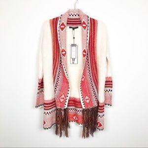 MaxSport Eyelash Boho Tribal Fringe Cardigan XS